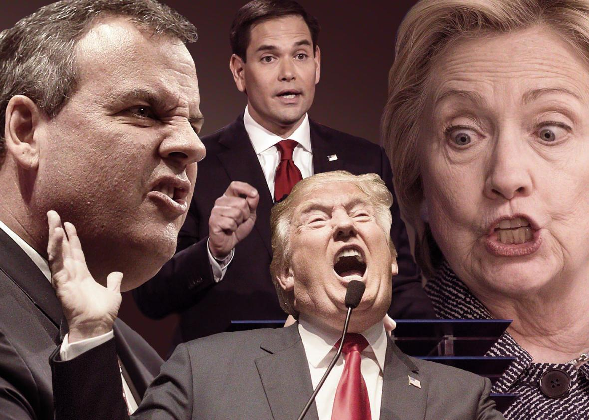 Presidential candidates Chris Christie, Donald Trump, Hillary Clinton and Marco Rubio