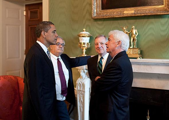 President Barack Obama meets with Rep. Barney Frank and Sens. Dick Durbin and Chris Dodd at the White House.