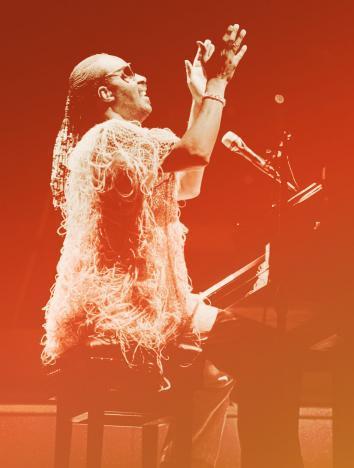 Stevie Wonder performs on July 03, 1984 in Paris.