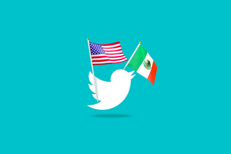 Twitter bird on a blue background holding a small American and Mexican Flag.