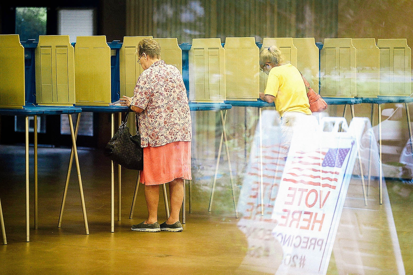 Voters stand at voting booths.