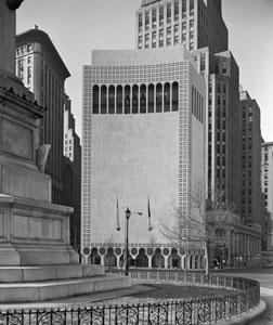 2 Columbus Circle, as designed by Edward Durell Stone and as completed in 1964. Click image to expand.