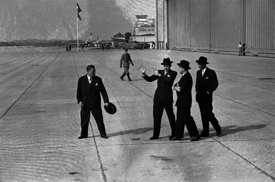 "The Geneva Summit. Swiss diplomats await the ""Big Four"": U.S. President Dwight D. Eisenhower, Soviet Union Premier Nikolai Bulganin, British Prime Minister Anthony Eden & French premier Edgard Faure in July 1955."