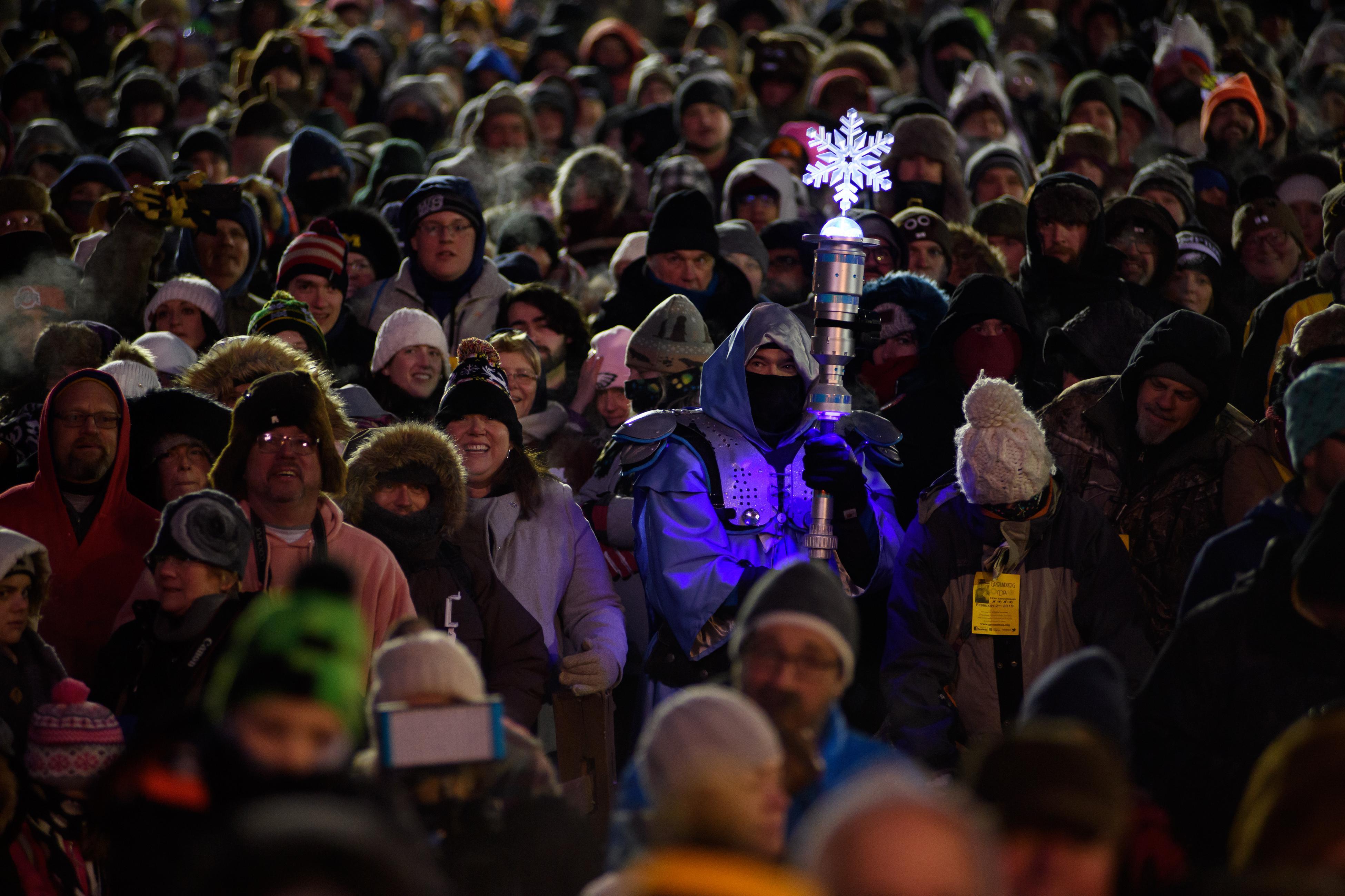 Cold visitors await Punxsutawney Phil on February 2, 2019 in Punxsutawney, Pennsylvania.