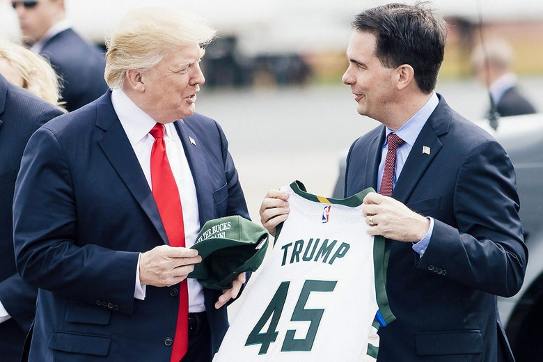President Donald Trump and Wisconsin Gov. Scott Walker.