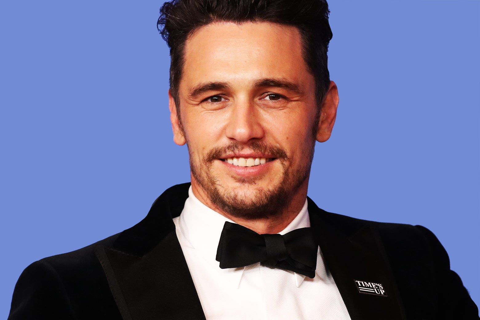 James Franco poses backstage after winning the award for Best Performance by an Actor in a Motion Picture.