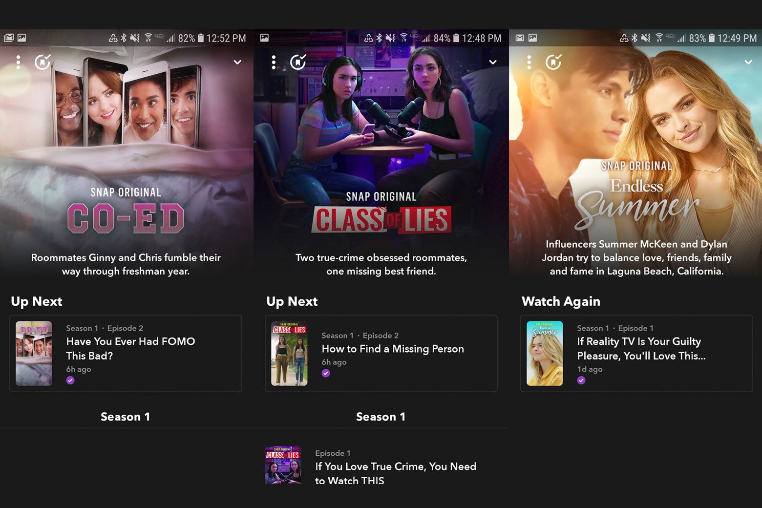 Phone screens displaying promo images for the Snap Originals series Endless Summer, Class of Lies, and Co-Ed.