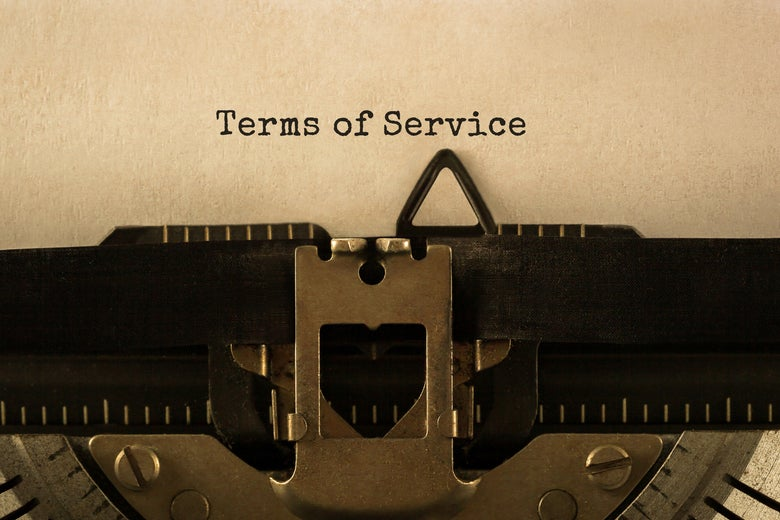 """Terms of service"" appears on a typewriter."