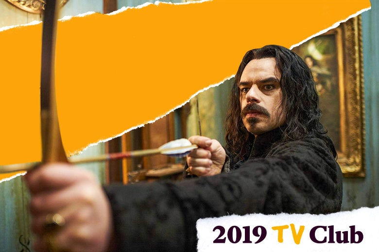 Photo illustration of a vampire from What We Do in the Shadows preparing to fire an arrow from a bow.