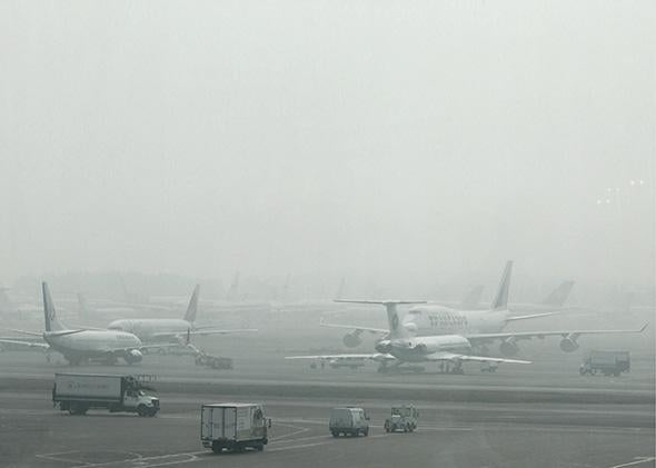 Passenger planes on the runway at Domodedovo airport in Moscow.