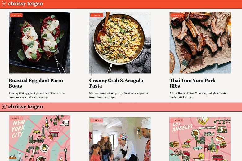 A screenshot of cravingsbychrissyteigen.com shows recipes and city guides.