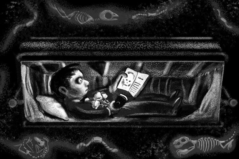 Spooky boy reading a book while lying in a coffin underground.
