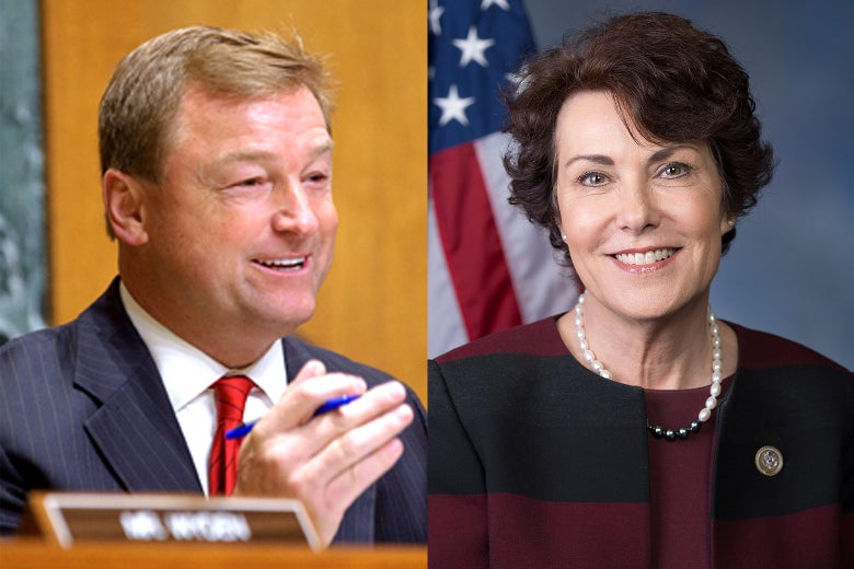 Side by side of Dean Heller and Jacky Rosen.