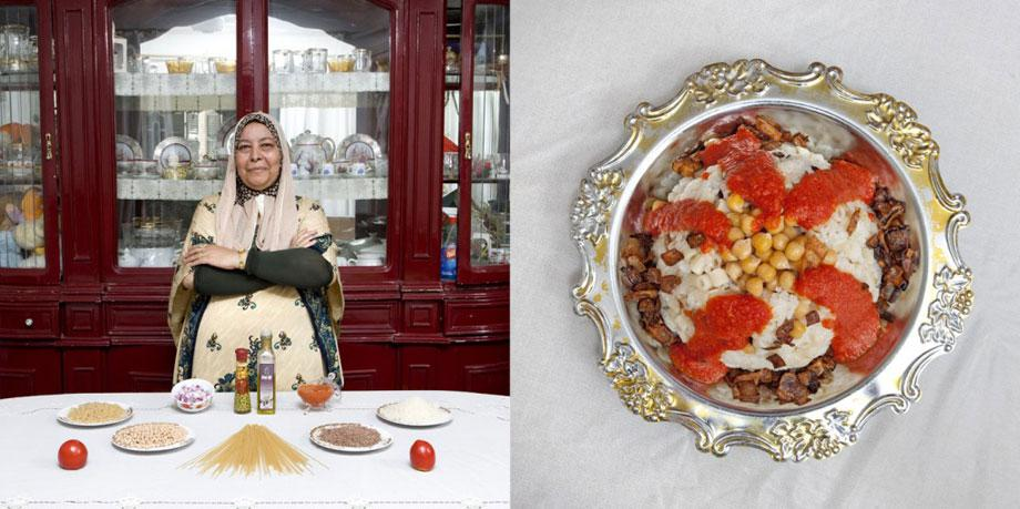 "Fifi Makhmer, 62 years old -€"" Cairo, Egypt– Kuoshry (pasta, rice and legumes pie)"