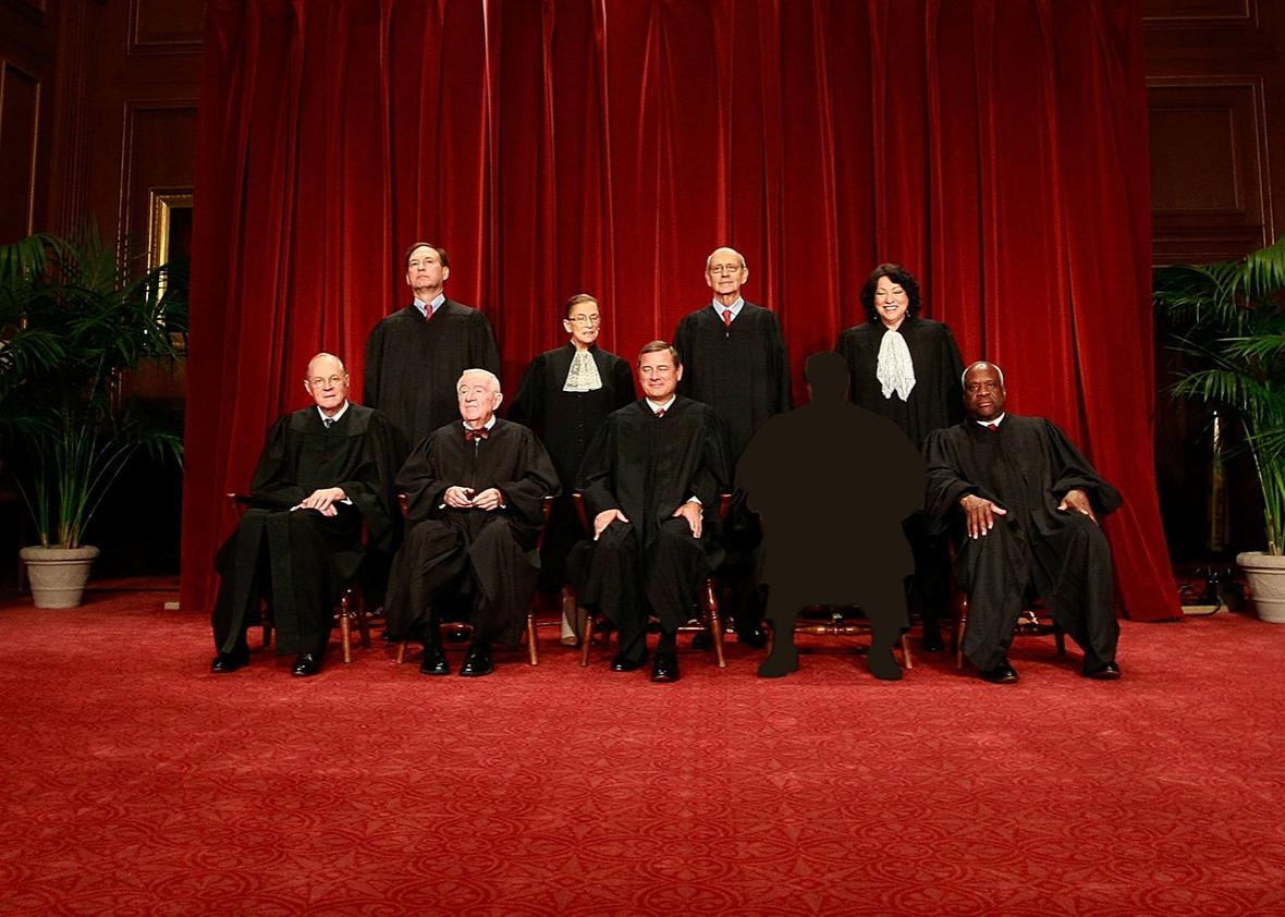 Members of the US Supreme Court pose for a group photograph at the Supreme Court building on September 29, 2009 in Washington, DC.