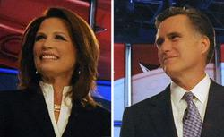 Michele Bachmann and Mitt Romney. Click image to expand.