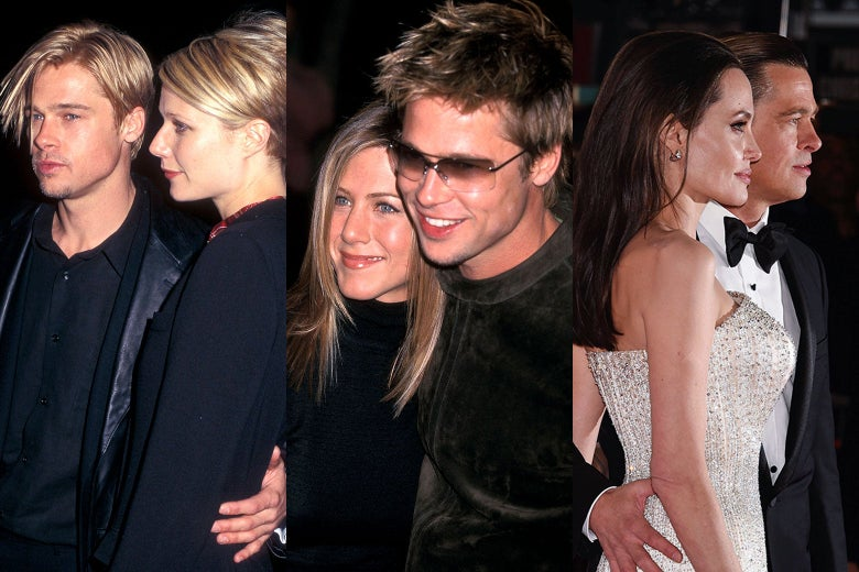 Triptych of photos of Pitt and Gwyneth Paltrow, Pitt and Jennifer Aniston, and Pitt and Angelina Jolie.