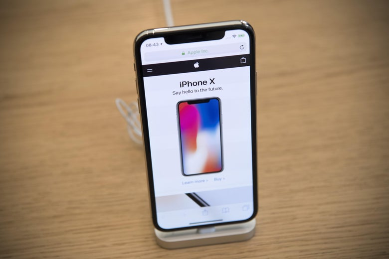 An iPhone X is displayed in the Apple store upon its release in the U.K, on November 3, 2017 in London, England. The iPhone X is positioned as a high-end, model intended to showcase advanced technologies such as wireless charging, OLED display, dual cameras and a face recognition unlock system.  (Photo by Carl Court/Getty Images)
