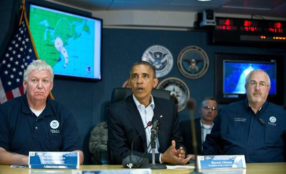 Barack Obama speaks to the press after a briefing on hurricane Sandy at the Federal Emergency Management Agency (FEMA) in Washington on Sunday.