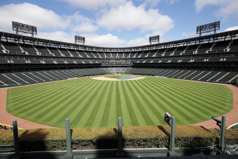 A general view from the outfield bleachers in center field of Guaranteed Rate Feld, home of the Chicago White Sox, on May 08, 2020 in Chicago, Illinois.