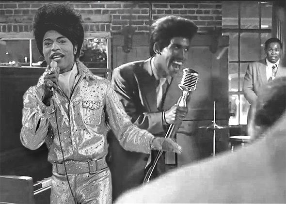 Little Richard, left, performs on an episode of the CBS show The Glen Campbell Goodtime Hour, on September 14, 1971. Right, Brandon Smith as Little Richard in Get On Up.