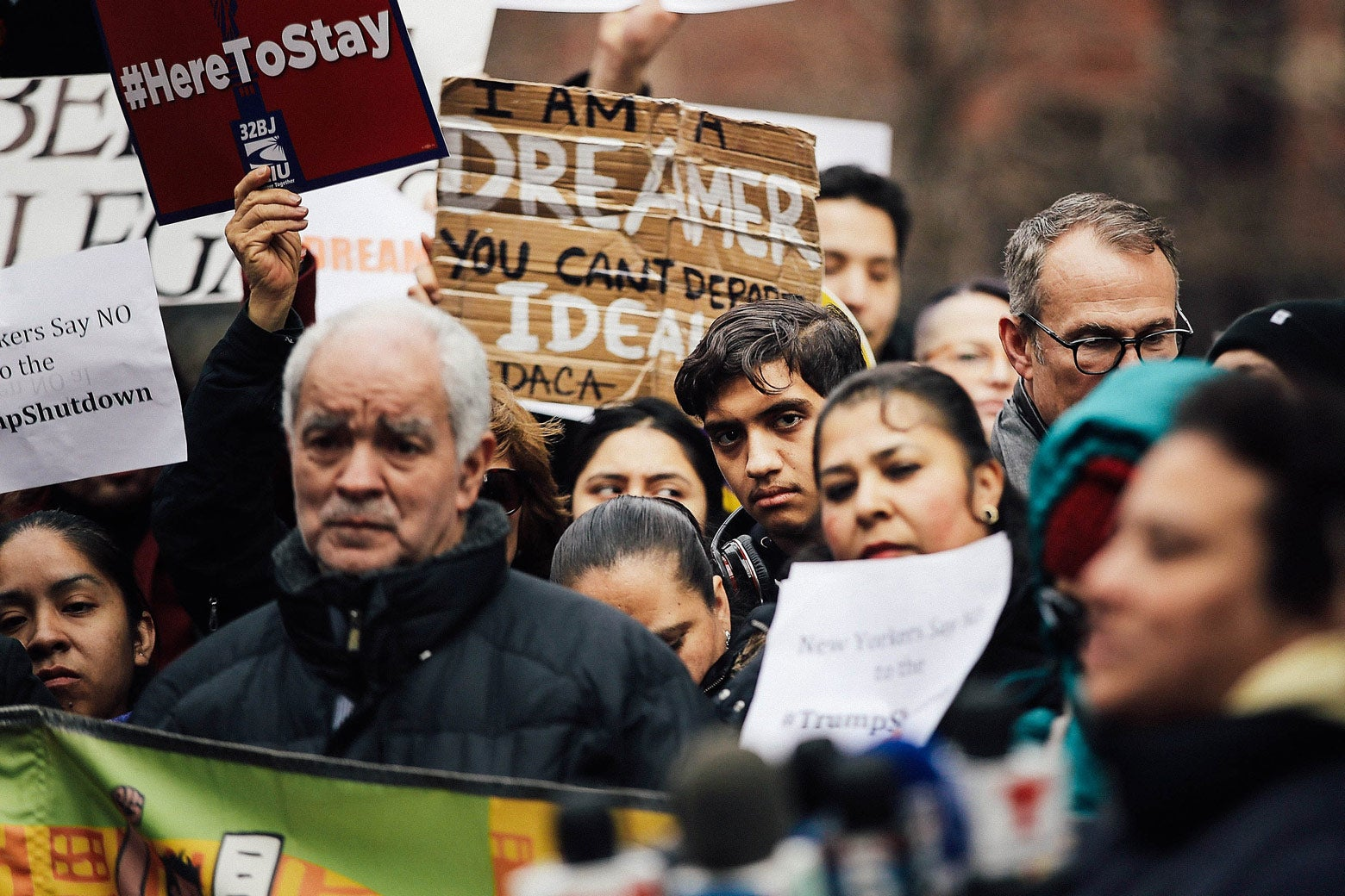Demonstrators, many of them recent immigrants to America, protest the government shutdown and the lack of a deal on DACA outside of Federal Plaza on Jan. 22 in New York.