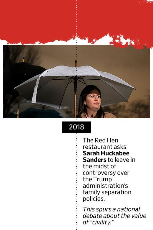 "Photo of Sarah Huckabee Sanders under an umbrella. In 2018, the Red Hen restaurant asks Sarah Huckabee Sanders to leave in the midst of controversy over the Trump administration's family separation policies. This spurs a national debate about the value of ""civility."""