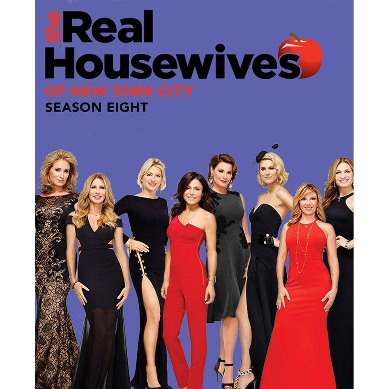 A poster for The Real Housewives of New York City Season 8. The cast wear black and red gowns and jumpsuits.
