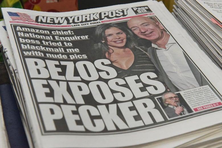 New York Post headline: Bezos Exposes Pecker.