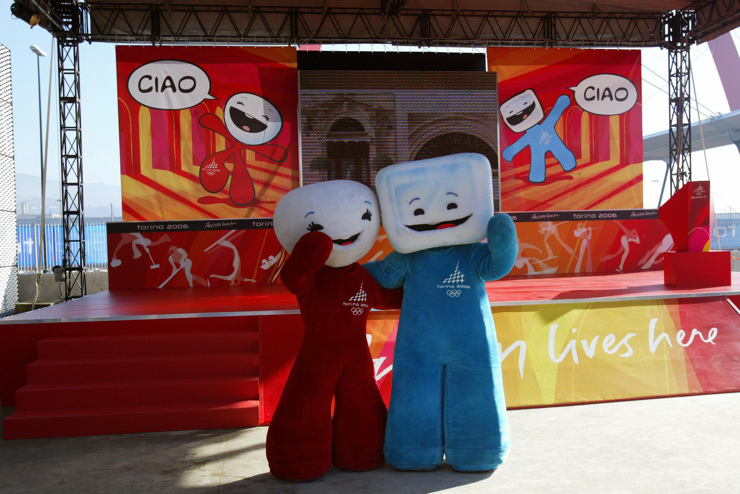 Turin, ITALY:  2006 Turin Winter Olympic mascots, snowball called Neve and her ice cube Gliz are pictured during the opening ceremony of the three Olympic Villages of Torino 2006, 31 January 2006.  AFP PHOTO  (Photo credit should read /AFP/Getty Images)