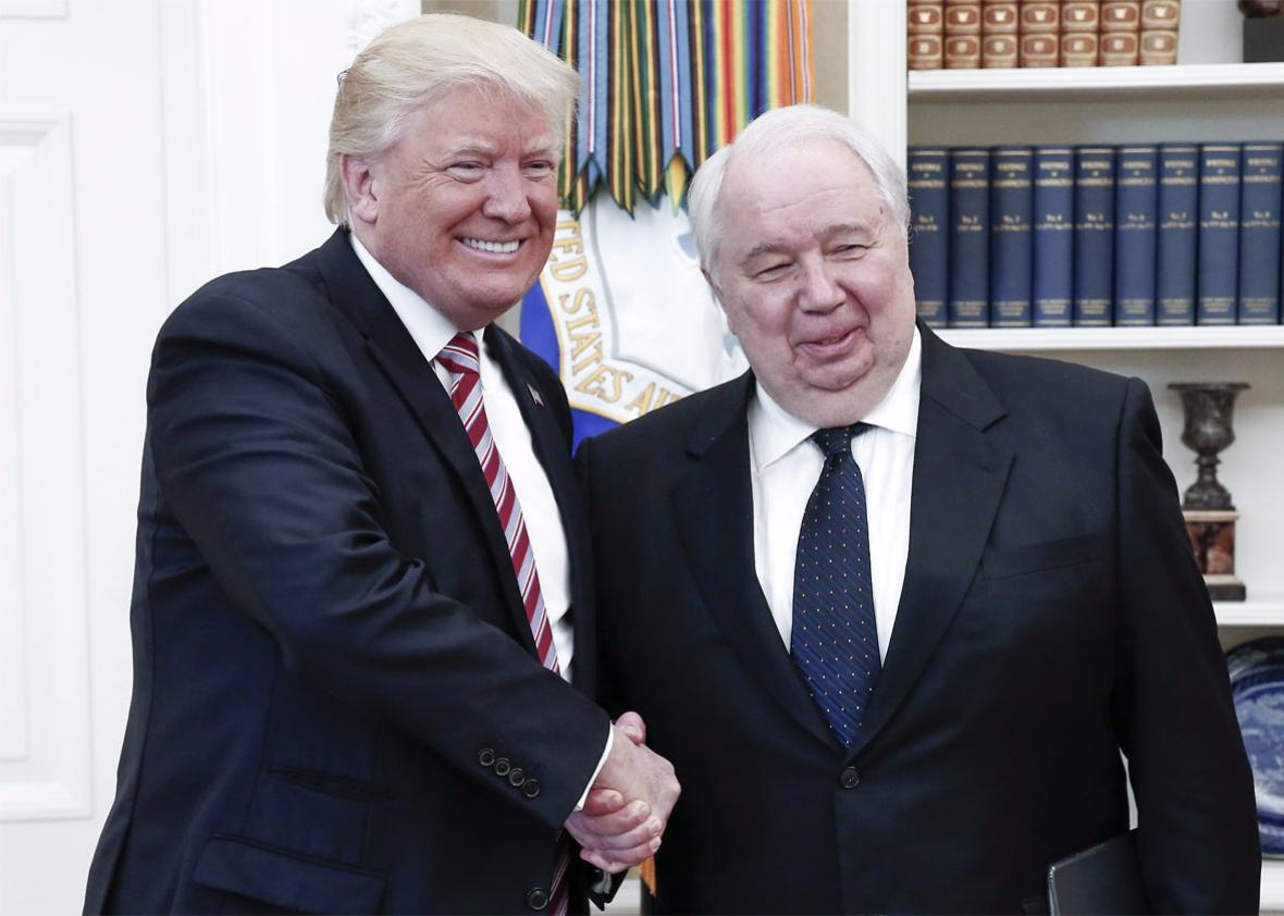 President Donald Trump shakes hands with Russian Ambassador to the United States Sergey Kislyak in the Oval Office at the White House on May 10.