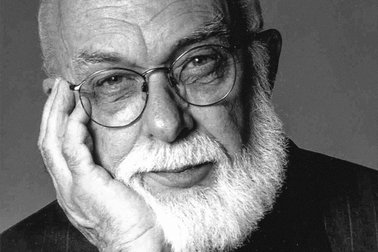 James Randi with his head resting on his hand
