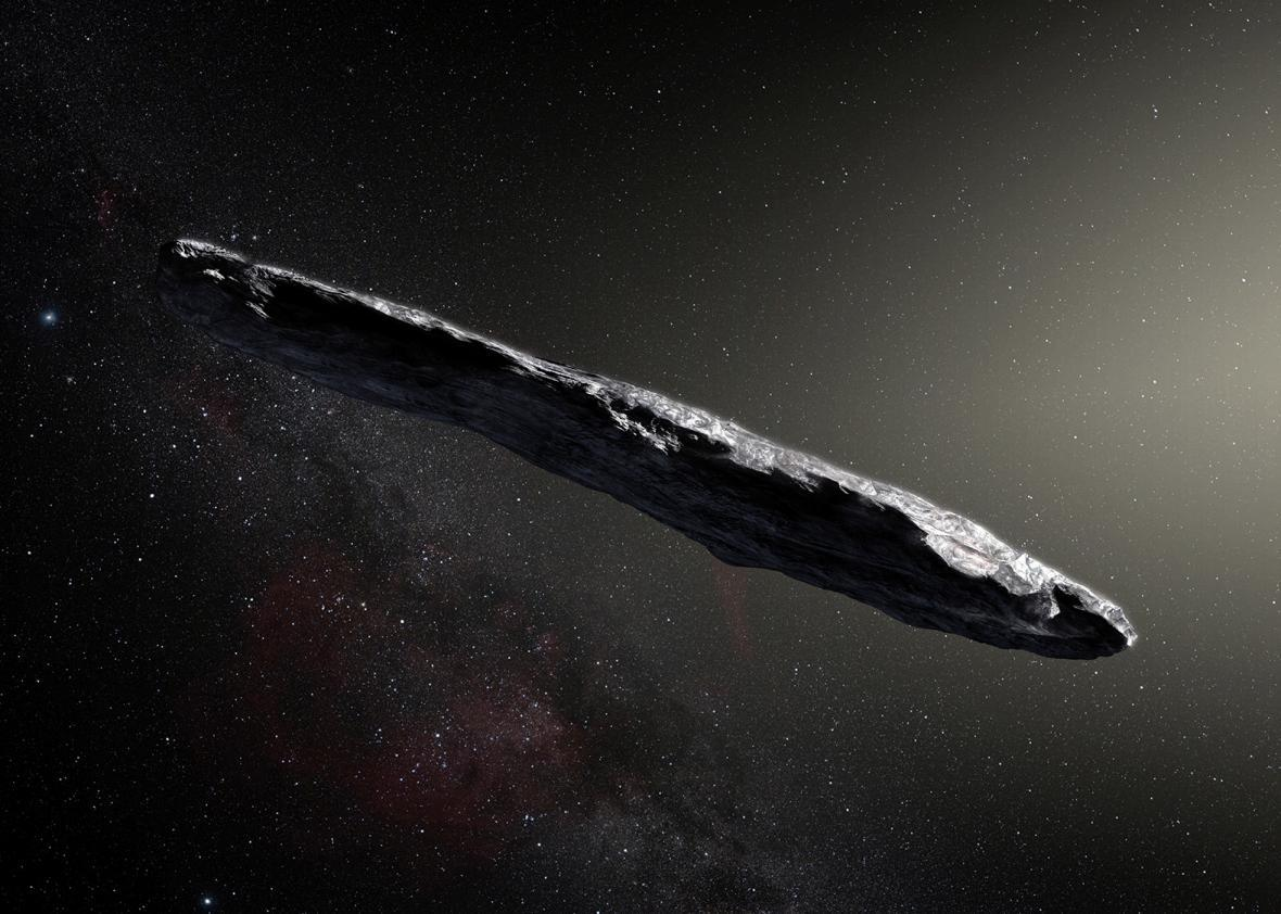 An artist's impression shows the first interstellar asteroid, 'Oumuamua.