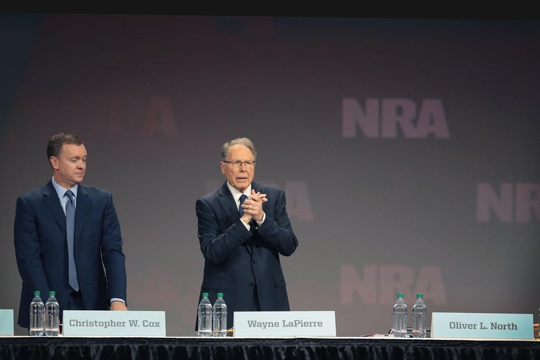 Chris Cox (L), executive director of the NRA-ILA, and Wayne LaPierre, NRA vice president and CEO attend the NRA annual meeting of members at the 148th NRA Annual Meetings & Exhibits on April 27, 2019 in Indianapolis, Indiana.
