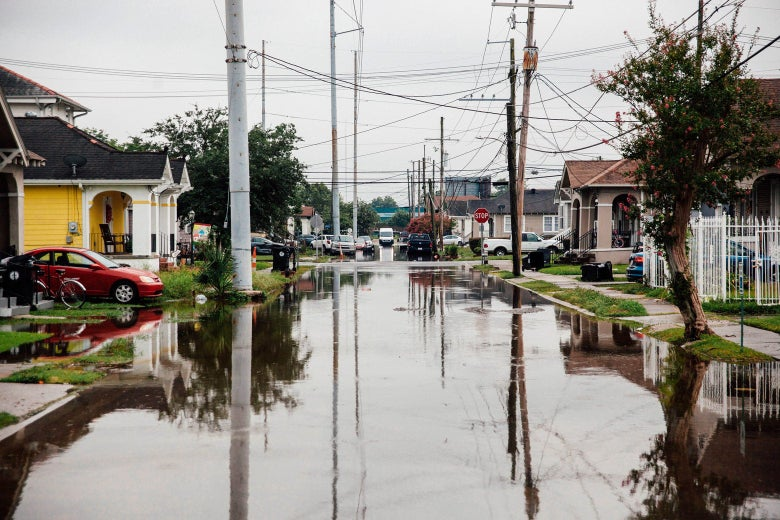 A flooded street in New Orleans.