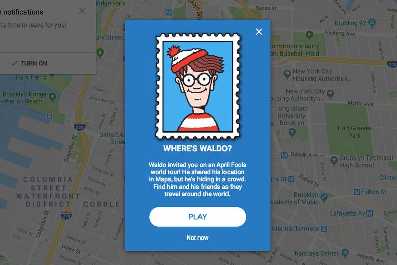 Screenshot of Google Maps with Where's Waldo? pop-up.
