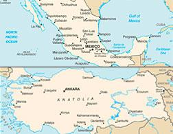 Maps of Mexico and Turkey.