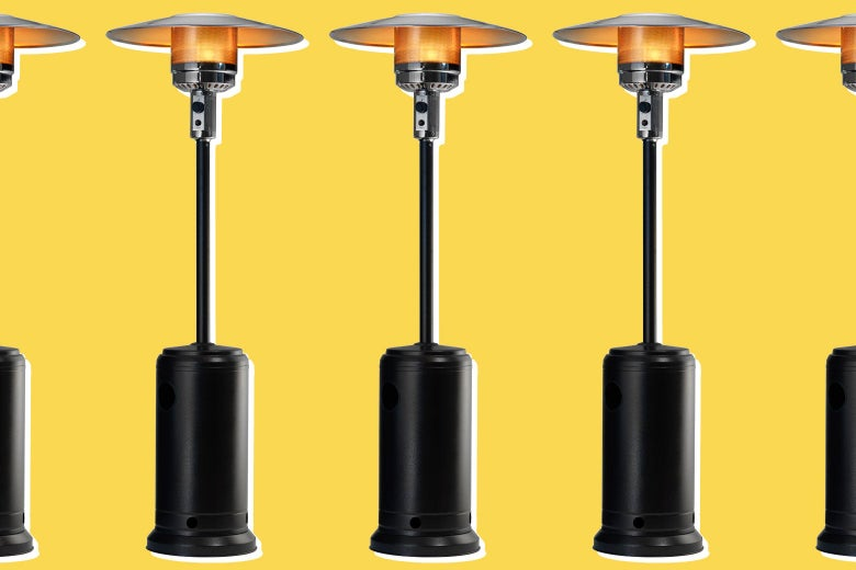 A row of patio heaters