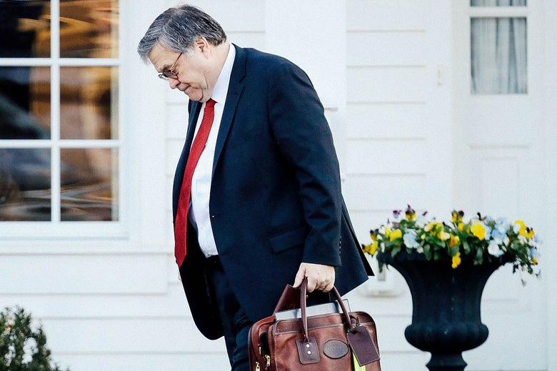 Bill Barr carries a briefcase and looks down