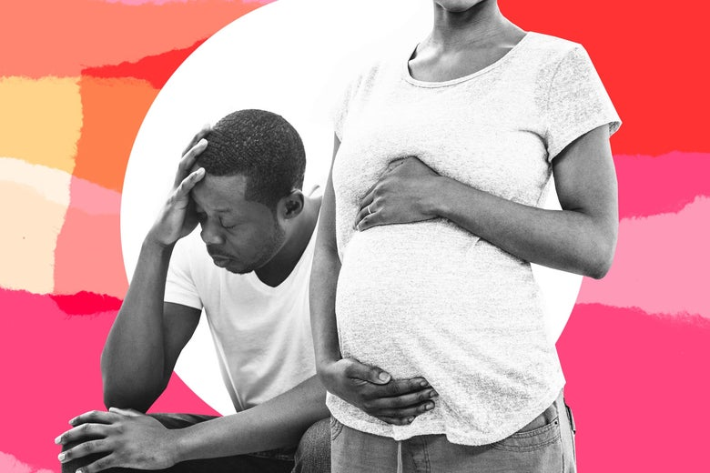 Collage of a pregnant woman standing and a man visibly upset behind her.