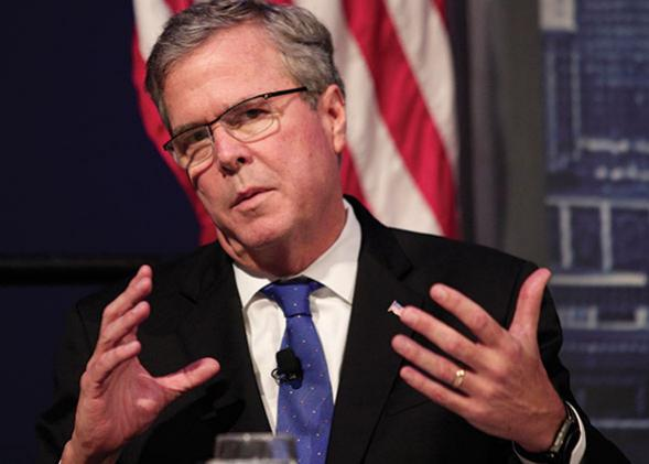 Former Florida Governor Jeb Bush speaks at the Detroit Economic Club February 4, 2015 in Detroit, Michigan.
