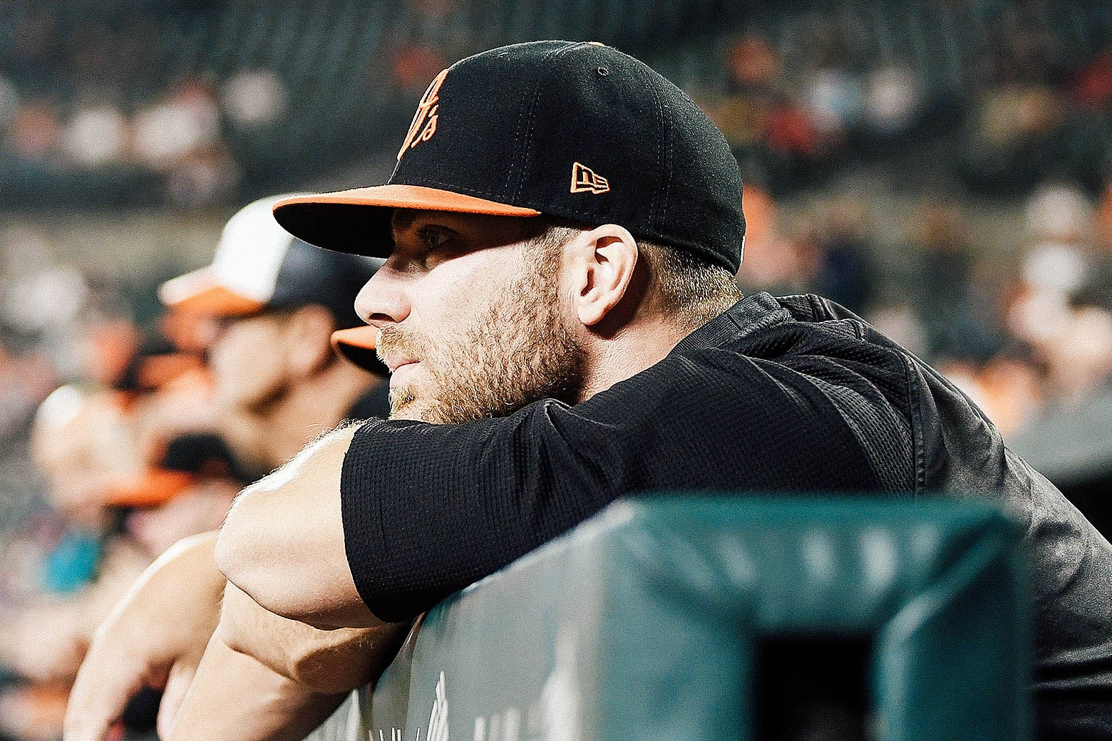 Chris Davis of the Baltimore Orioles watches the game during the second inning against the Houston Astros at Oriole Park at Camden Yards on Sept. 28.