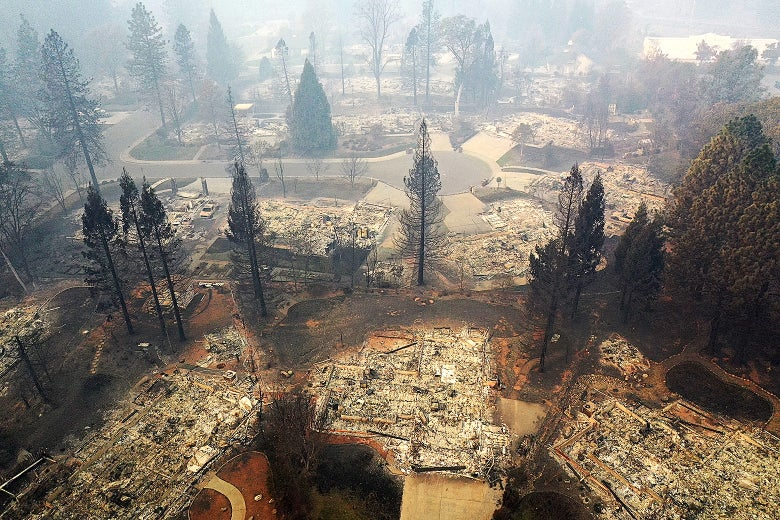 An aerial view of a neighborhood destroyed by the Camp Fire on Nov. 15 in Paradise, California.