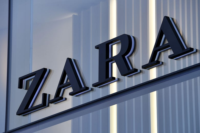 The Zara logo on the facade of a store.