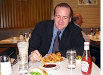 Jim never eats fries without barbecue sauce