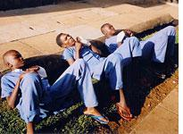 Young boys recuperating at the hospital from cuts received during fights over miraa. Click image to expand.