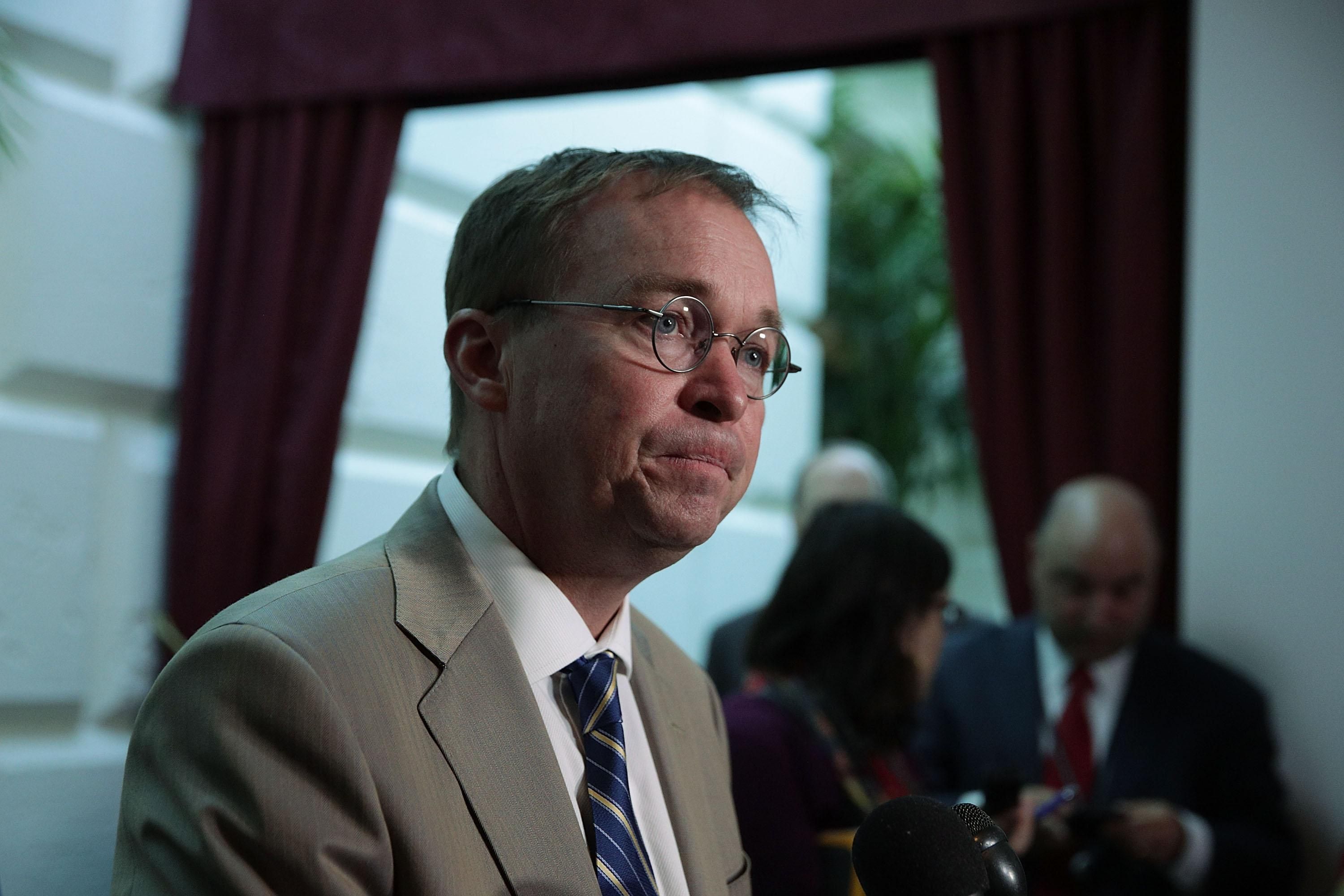WASHINGTON, DC - SEPTEMBER 08:  White House Budget Director Mick Mulvaney speaks to members of the media after a House Republican Conference meeting September 8, 2017 at the Capitol in Washington, DC. Mulvaney was on the Hill to push for the Trump Administration's Hurricane Harvey relief and debt limit package.  (Photo by Alex Wong/Getty Images)