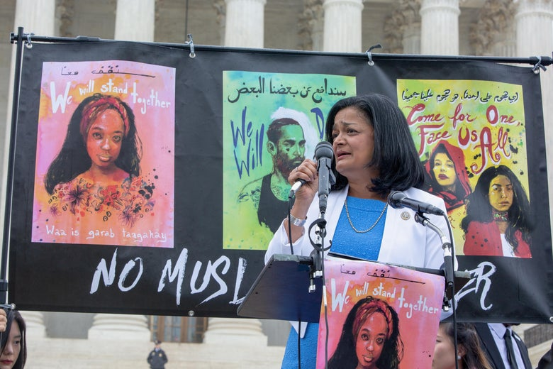Rep. Pramila Jayapal speaks outside outside the Supreme Court for the No Muslim Ban Ever protest on April 25, 2018 in Washington, D.C.