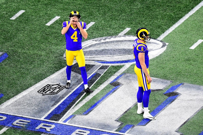 ATLANTA, GEORGIA - FEBRUARY 03: Greg Zuerlein #4 and Johnny Hekker #6 of the Los Angeles Rams react in the first quarter against the New England Patriots during Super Bowl LIII at Mercedes-Benz Stadium on February 03, 2019 in Atlanta, Georgia. (Photo by Scott Cunningham/Getty Images)