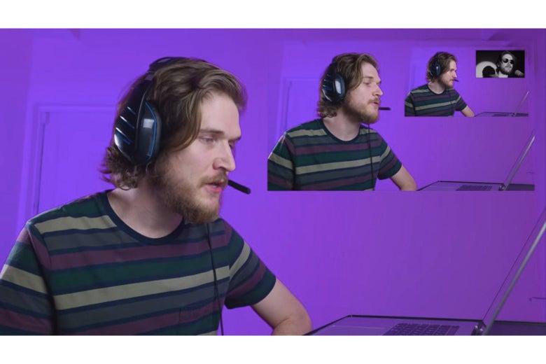 A recursive shot showing Bo Burnham reacting to a video of Bo Burnham reacting to a video of Bo Burnham reacting to a video of Bo Burnham singing a song.